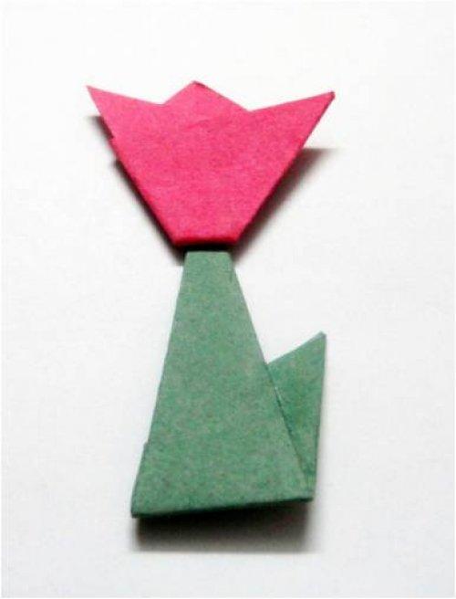 一朵小红花的折纸图解与方法教程