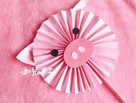 粉红小猪扇子的折纸图解与方法教程