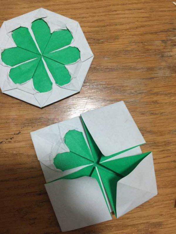 平面四叶草的折纸图解与方法教程