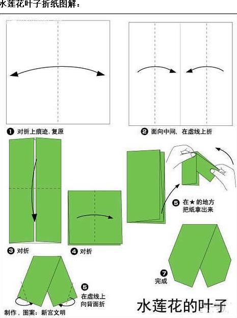 水莲花折纸图解与方法教程_折纸大全_手工制作大全