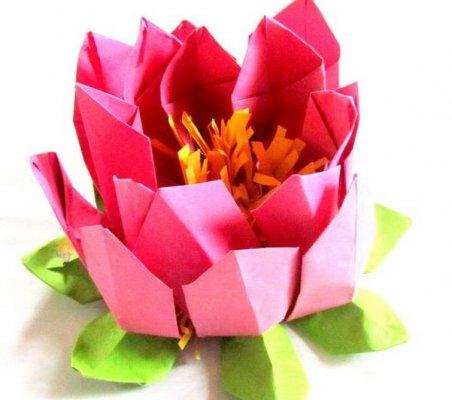 莲花灯的折纸图解与方法教程_折纸大全_手工制作大全