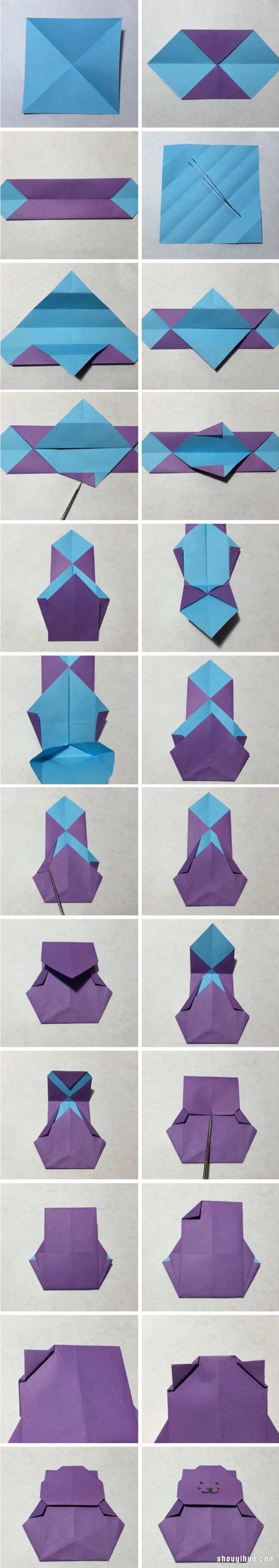 抱爱心的小熊折纸图解与方法教程_折纸大全_手工制作