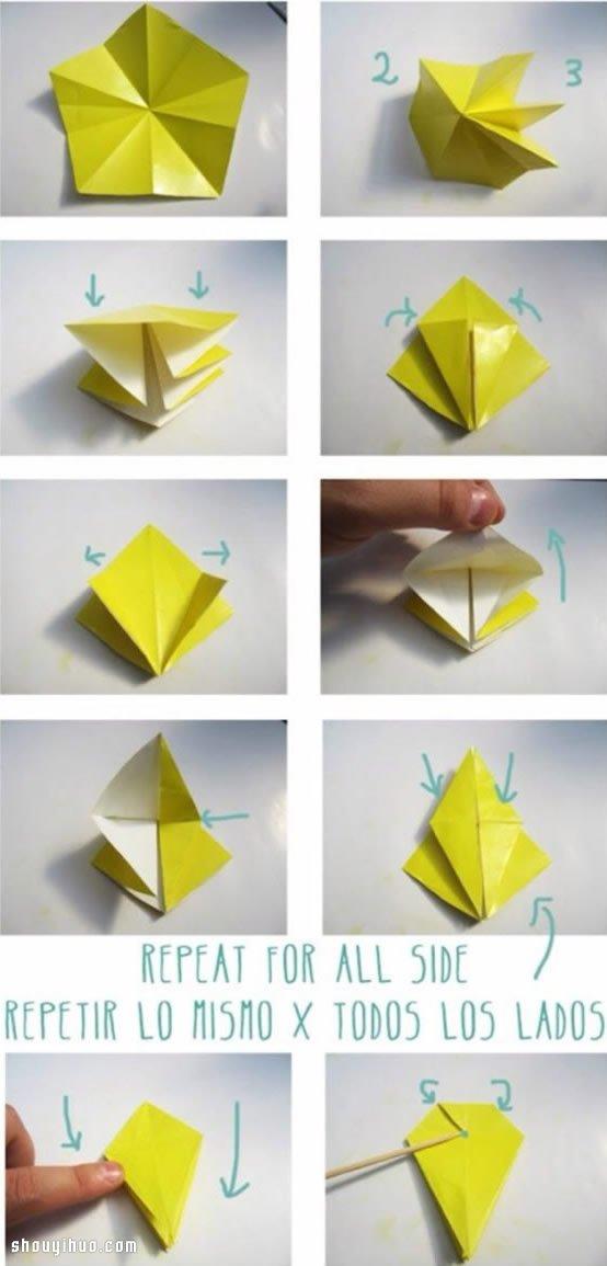 折纸飞机、小船、花朵等等是折纸手工里的永恒主题,波妞弱弱的猜想:也许是太复杂的不会,太简单的又看不上的缘故吧?~当然也有很大一个可能是,折纸很多是大人逗着小孩子玩的,而小朋友们就对这些更感兴趣啊!比如说一个能够飞翔的折纸飞机,另一个是费了一个礼拜折出来的漂亮花球,你猜孩子们会喜欢哪个呢,肯定是折纸飞机的性价比更高咯~()/~啦啦啦~~~ 绕了好大一个圈,下面就隆重推出要介绍的折纸教程啦,跟着下面的图解你可以折出一个星星,也可以是一朵五片花瓣的漂亮纸花,看自己喜欢咯~具体如何折的方法,波妞就不多费口舌了