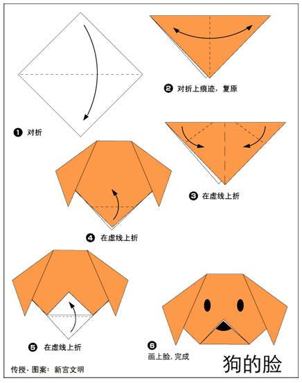 小狗脸折纸图解与方法教程