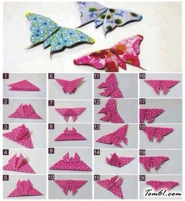 美丽的蝴蝶的折纸图解与方法教程_折纸大全_手工制作大全_中国儿童资源网