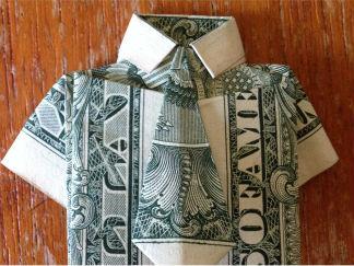 美元折襯衫和領帶的折紙圖解與方法教程