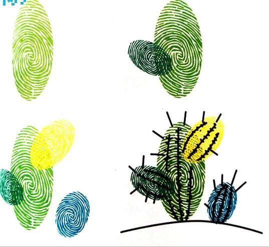 仙人掌-手指畫圖集