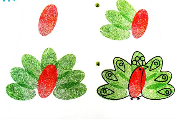 孔雀-手指画图集2