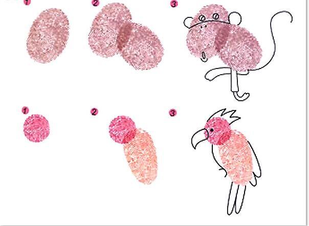 小猩猩和小鸚鵡-手指畫圖集