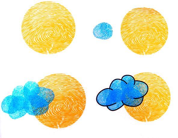 月亮和云朵-手指畫圖集