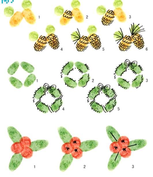 松塔、花环和小彩灯-手指画图集