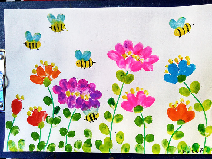 花儿和瓢虫-手指画图集