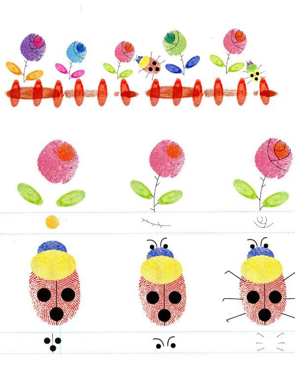 花儿和瓢虫-手指画图集3