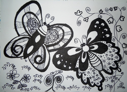 蝴蝶-素描图集图片