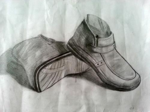 鞋子-素描图集图片