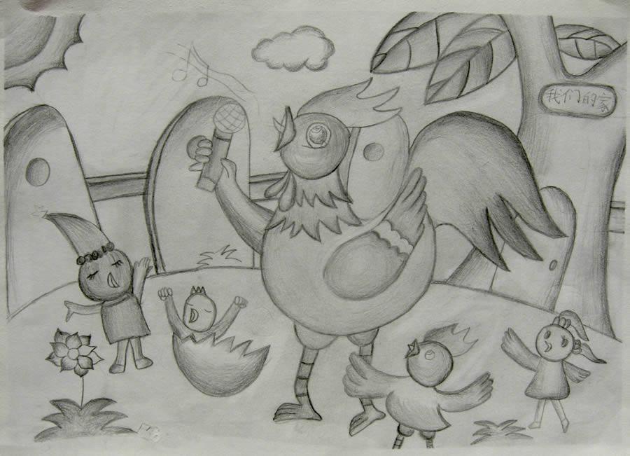 鸡-素描图集