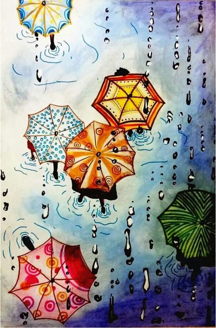 下雨天-水彩画图集