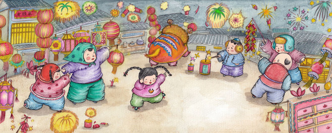 元宵节-水彩画图集