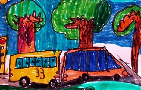公交车-水彩画图集