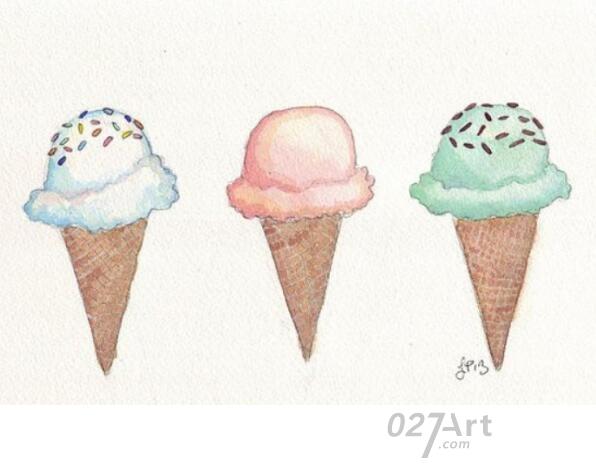 冰激凌-水彩画图集