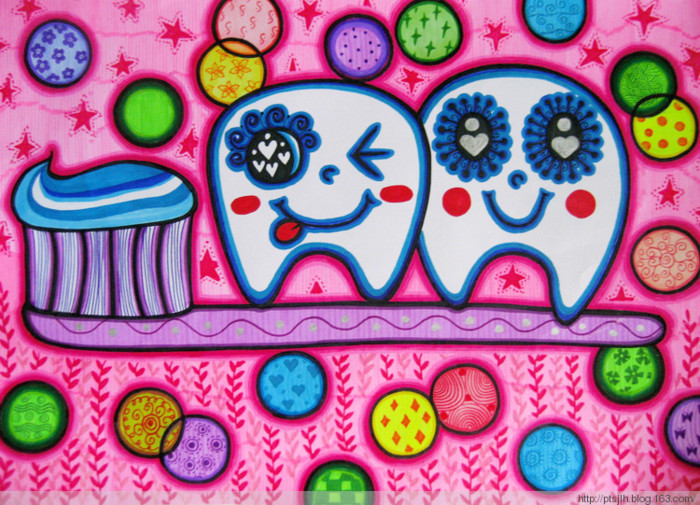 刷牙-水彩画图集