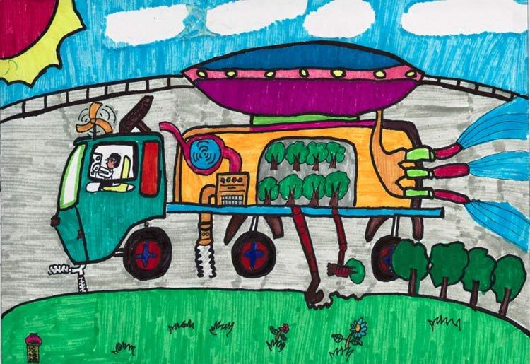 卡车-水彩画图集