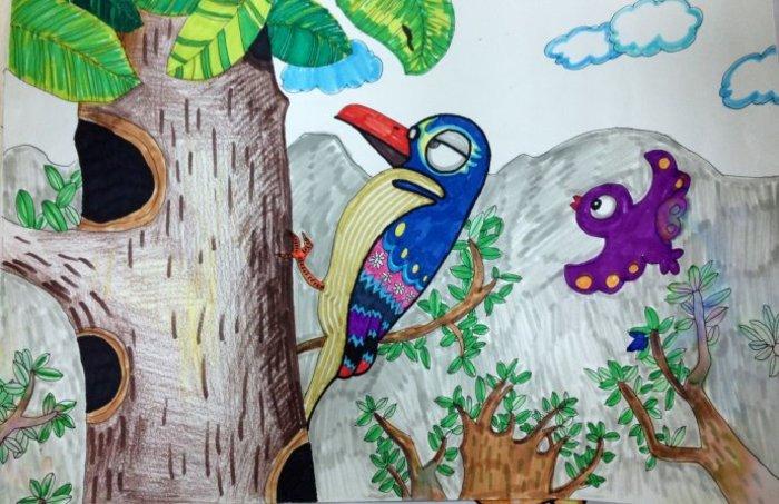 啄木鸟-水彩画图集