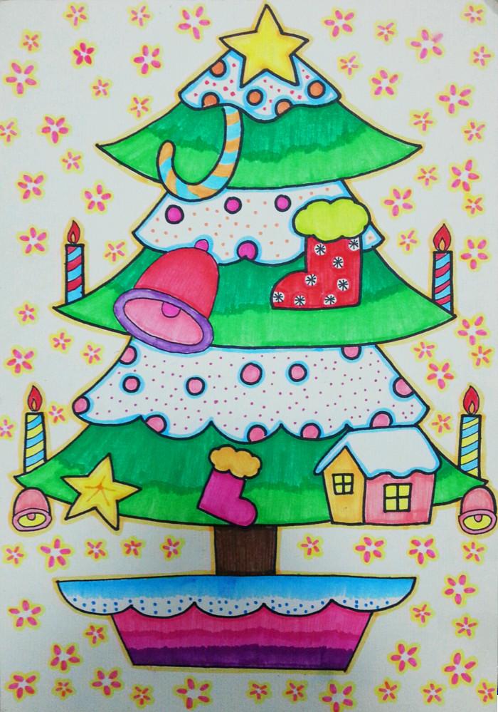 圣诞树-水彩画图集