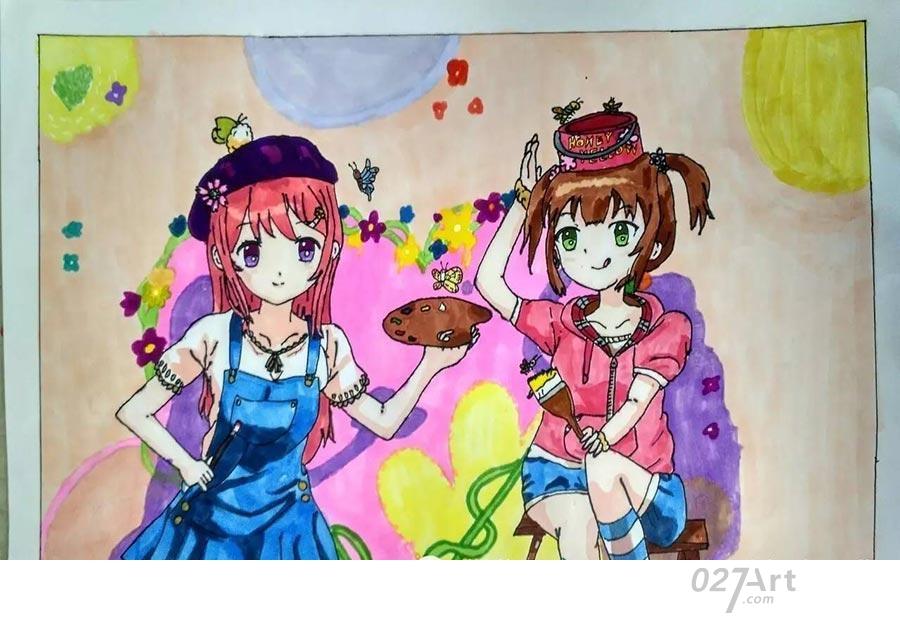 姐妹-水彩画图集