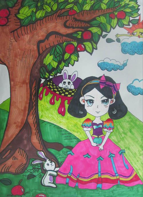 少儿英语_小公主-水彩画图集图片_儿童水彩画_少儿图库_中国儿童资源网
