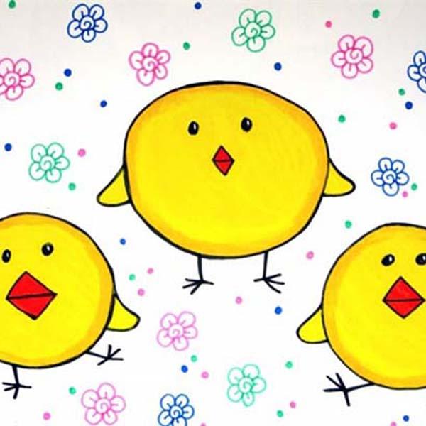 小鸡-水彩画图集