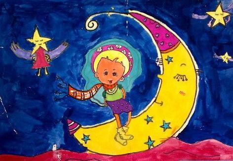 月亮-水彩画图集