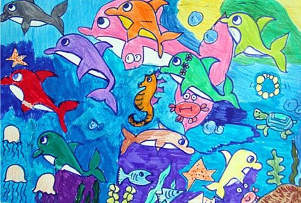 海底世界-水彩画图集图片_儿童水彩画_少儿图库_中国