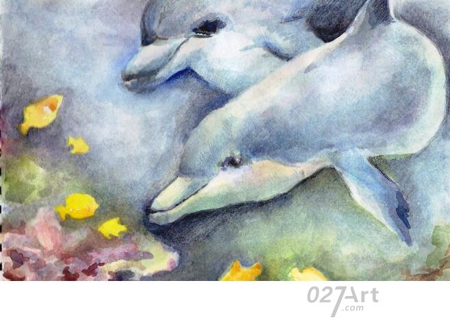 海豚-水彩画图集