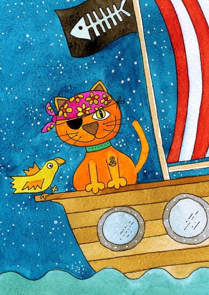 中国优秀儿童动画片_猫-水彩画图集图片_儿童水彩画_少儿图库_中国儿童资源网