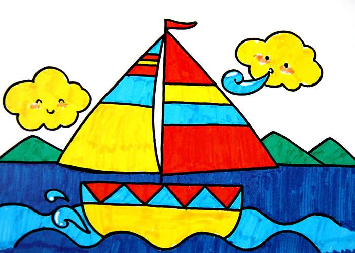 简笔画 小船 动物