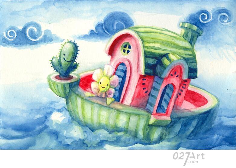 西瓜-水彩画图集图片