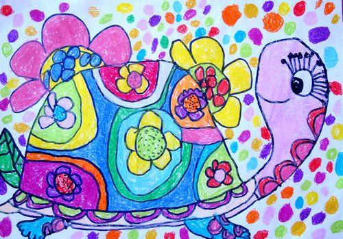 乌龟-蜡笔画图集3