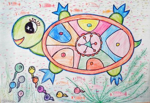 乌龟-蜡笔画图集5