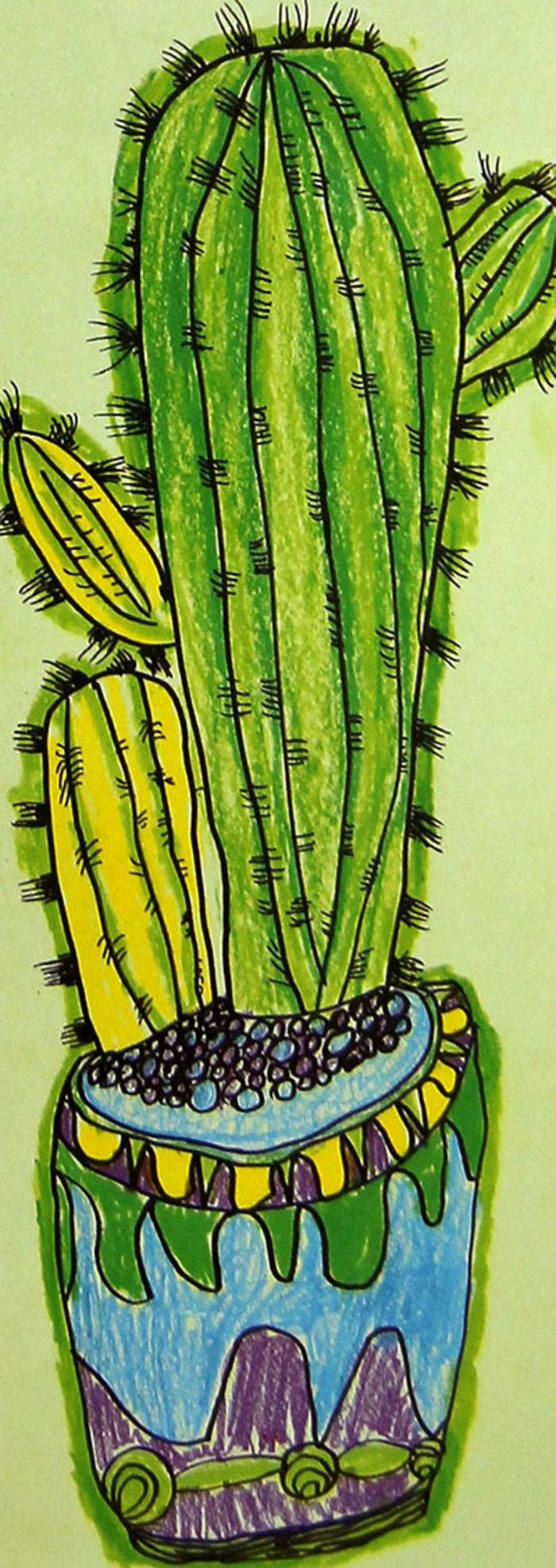仙人掌-蜡笔画图集