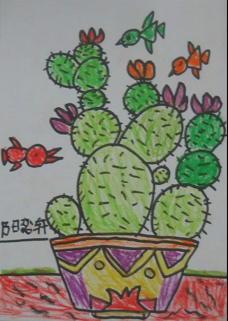 仙人掌-蜡笔画图集5