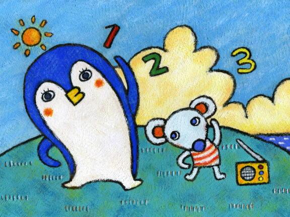 企鹅-蜡笔画图集2