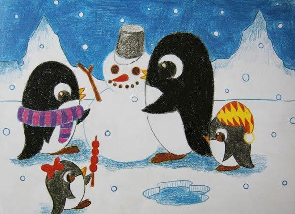 企鹅-蜡笔画图集3