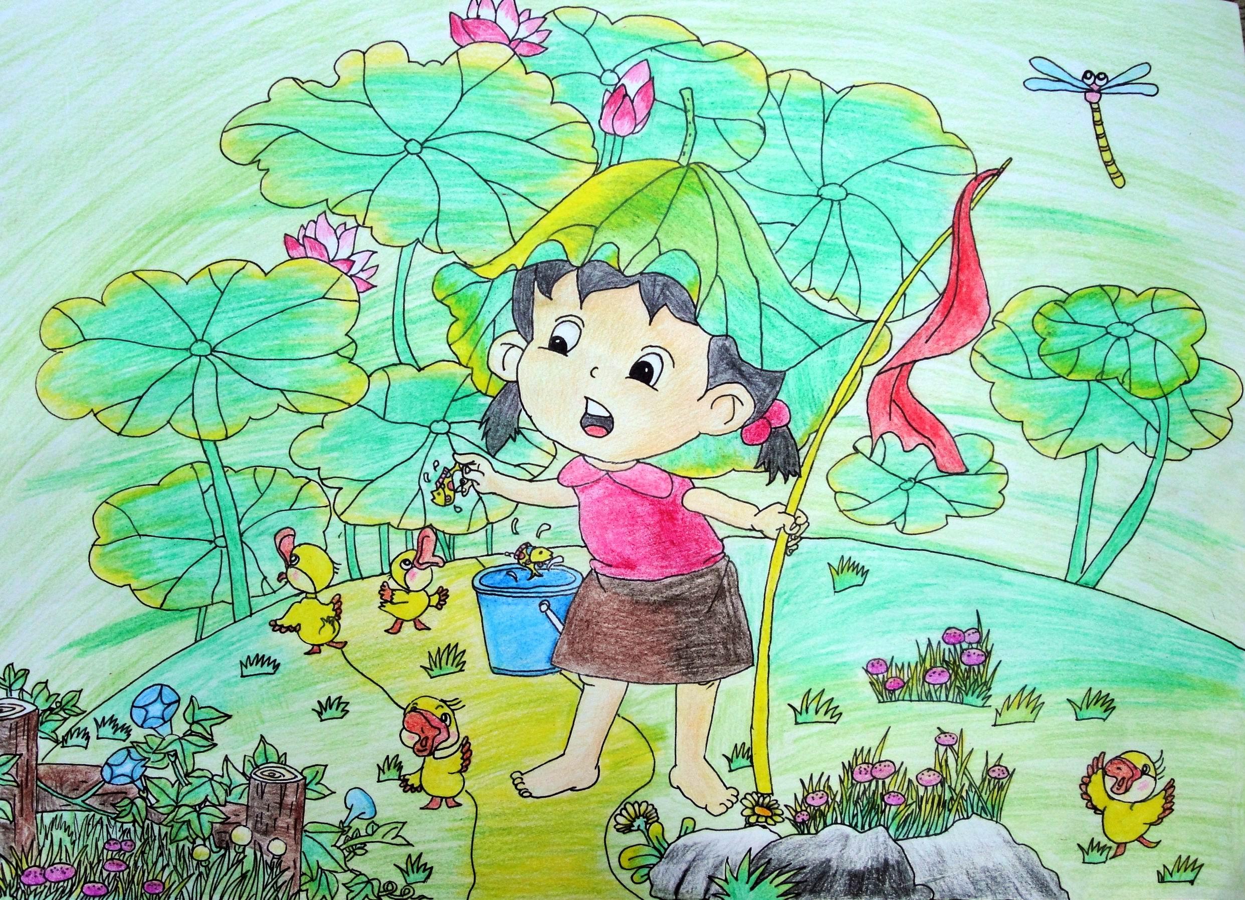 假期-蜡笔画图集6