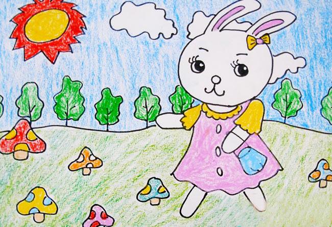 兔子-蜡笔画图集