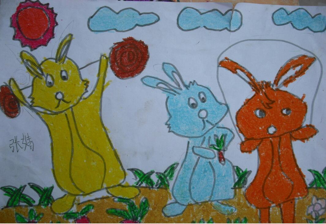 兔子-蜡笔画图集2