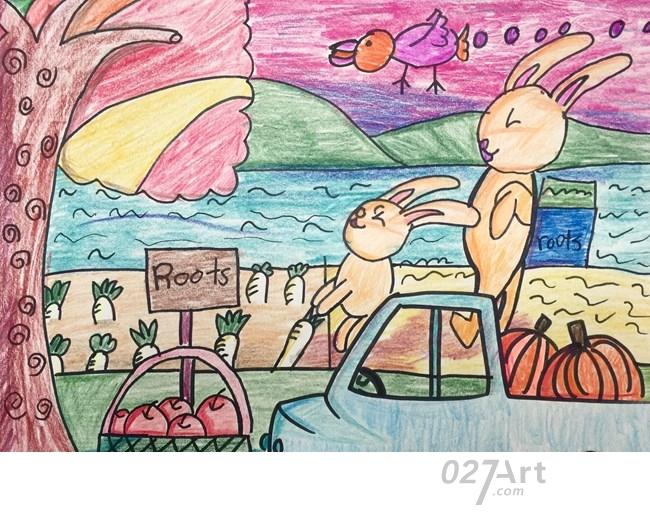兔子-蜡笔画图集4