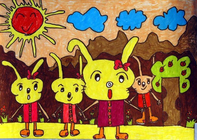 兔子-蜡笔画图集9