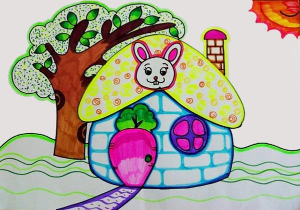 兔子-蜡笔画图集10