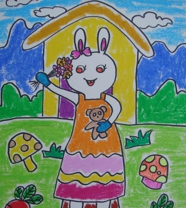 兔子-蜡笔画图集12